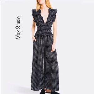 Max Studio crepe jumpsuit black w/ white polkadots